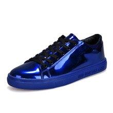 Mens Sapatos De Couro de patente 2018 Moda Sólidos Tênis de Estudantes Durante Toda a Partida Outono Cadarço Casuais Sapatos Baixos para o Sexo Masculino À Prova D' Água