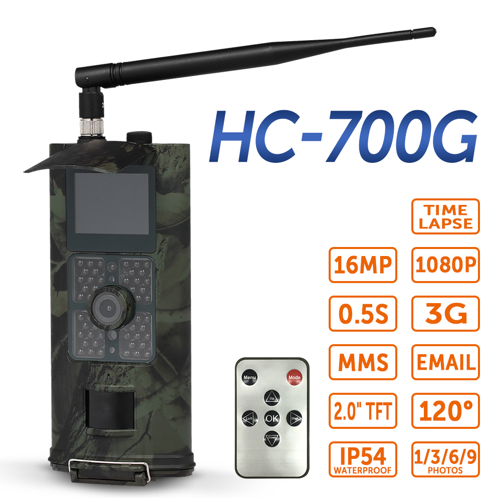 16MP 1080P Hunting Trail Camera SMS GSM Outdoor Wildlife Trap Scouting Infrared IR Trail Camera with PIR Sensor Night Vision hc 550a scouting hunting camera hc550a hd 1080p 16mp 120 degrees angle pir sensor sight photo trap wildlife cam