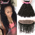 3PCS Peruvian Water Wave With Frontal Closure Ear to Ear Lace Frontal Closure With Bundles Wet And Wavy Human Hair With Closure