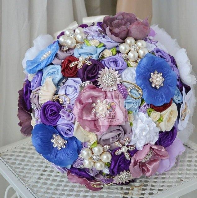Handarbeit Hochzeit Blumen Braut Mit Blumen Vintage Blau Violett