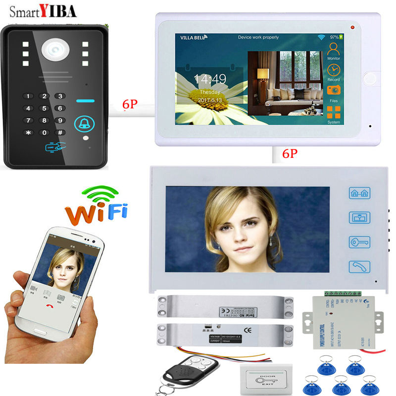 SmartYIBA 7Wifi Smart Phone Video Door Phone Remote Control Electric Drop Bolt lock Password ID Cards Unlock Doorbell Intercom