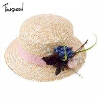 [TIMESWOOD] 2017 neue Design Blume Frauen Hüte Für Hochzeit Stroh Retro Sonnenhut Mode Sommer Marke Kappe Damen Sonnenhüte Schöne