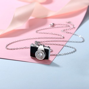 Image 3 - U7 925 Sterling Silver Camera Black Enamel CZ Pendant Necklace for Women Bridesmaid Photographer Gift 2018 New Fashion Design