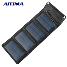 AIYIMA Portable Foldable 7W Solar Charger Powerport Sun Power Panel Charge Power bank Charging Board for iPhone Samsung