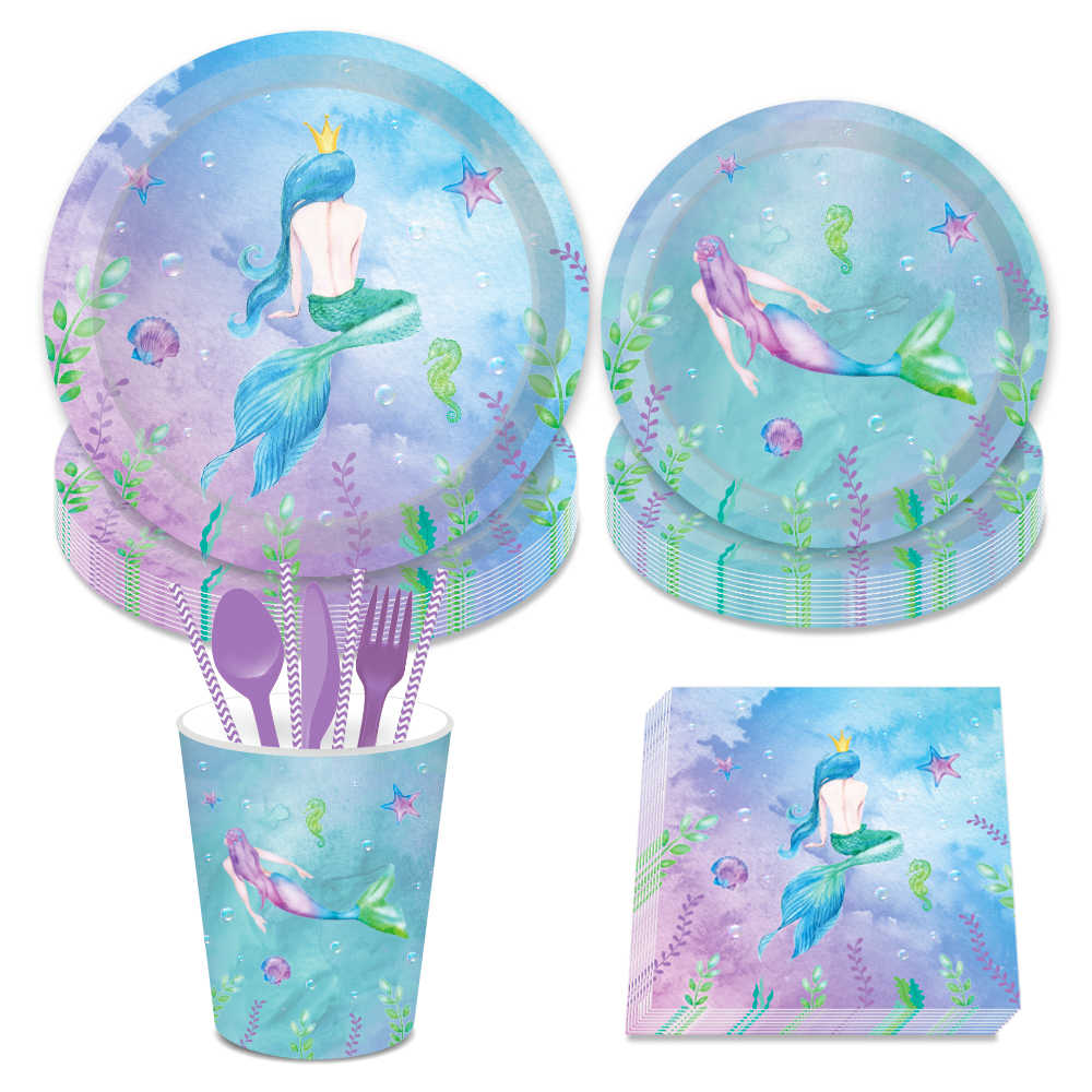 Little Mermaid Theme Party Decorations Sets Plates Napkins Cups Disposable Tableware Birthday Wedding Baby Shower Party Favors