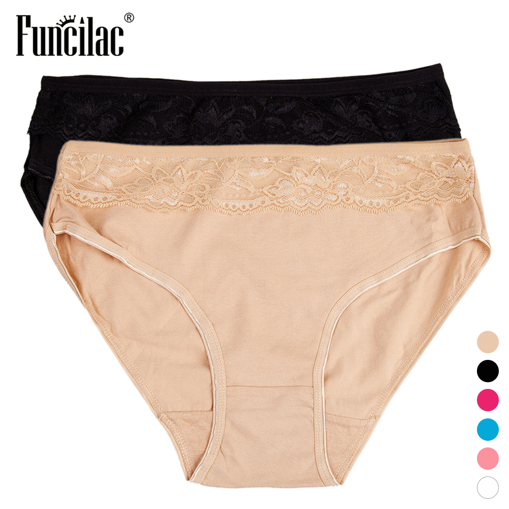 FUNCILAC Briefs For Women Plus Size Solid Lace Underwear Sexy   Panties   Cotton Intimates Lingerie ropa interior femenina 2pcs/lot