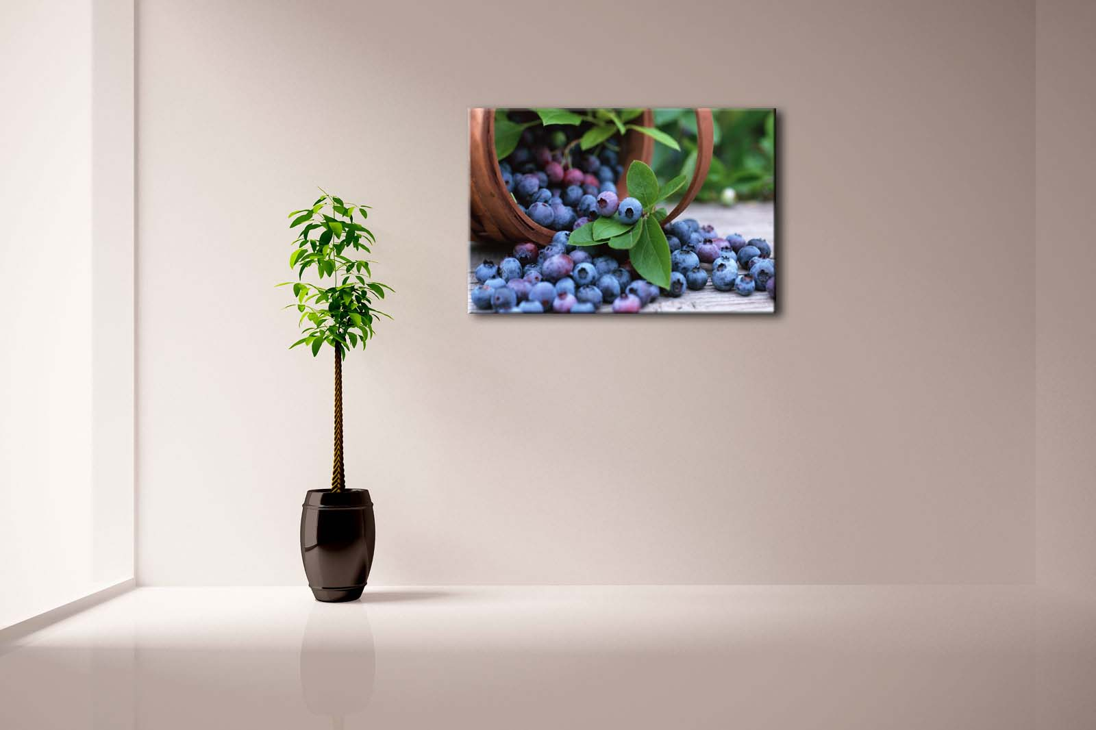 Framed Wall Art Pictures Blueberry Basket Canvas Print Food Modern Posters With Wooden Frames For Home Living Room Decor - 3