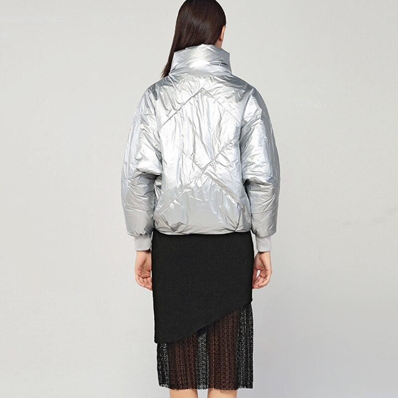 Nouvelle 2018 argent Manches Mode Femmes Outwear Col Chaud Chaqueta Longues Épais Georeliot Manteau D'hiver Court Roulé Noir Parka À Mujer R0dHwq