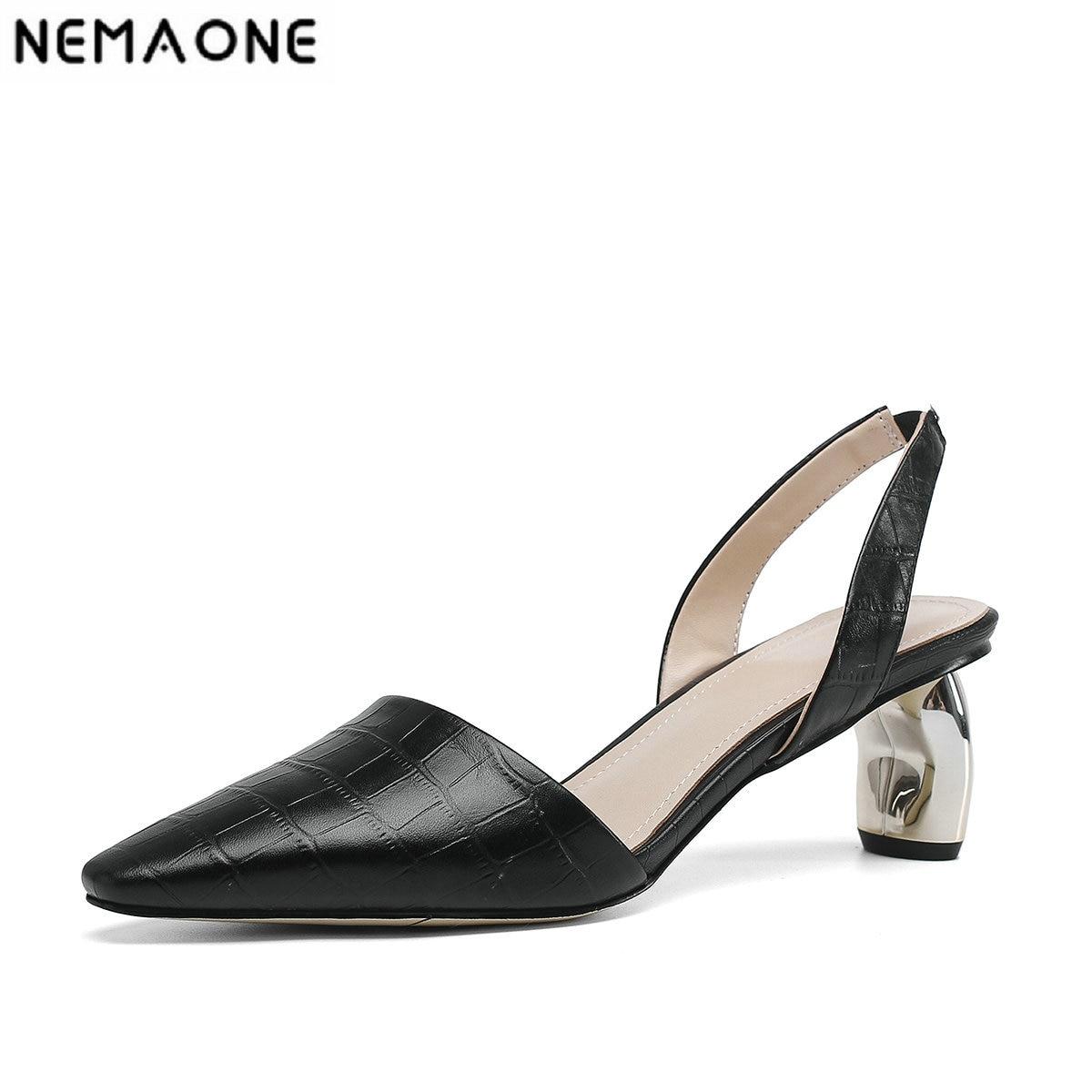 NEMAONE Elegant Women High Heels Spring Summer Genuine Leather Shoes Woman Pointed Toe Office Pumps Ladies