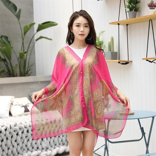 VISNXGI Fashion Floral Chiffon Blouses Women Spring Summer Style Beachwear Cover Up Elegant Flower Print Chiffon Loose Shirt 3