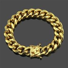 Creative new jewelry European and American hip hop tide men  Cuban buckle bracelet Support generation