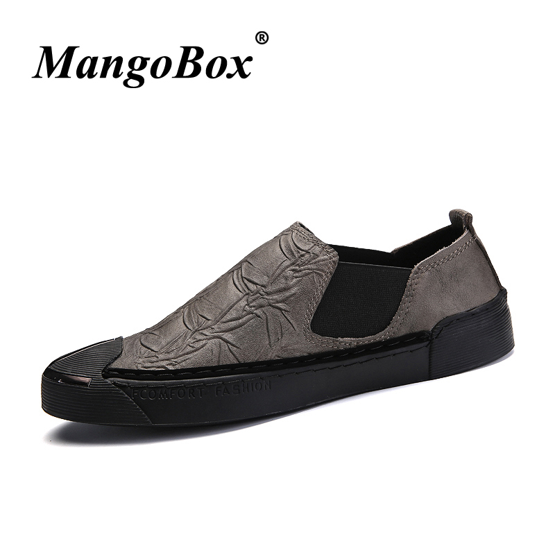 2018 Young Boy Casual Shoes Black Khaki Mens Fashion Shoes Designer Mens Footwear Size 38-44 Genuine Leather Flats Mens Sneakers