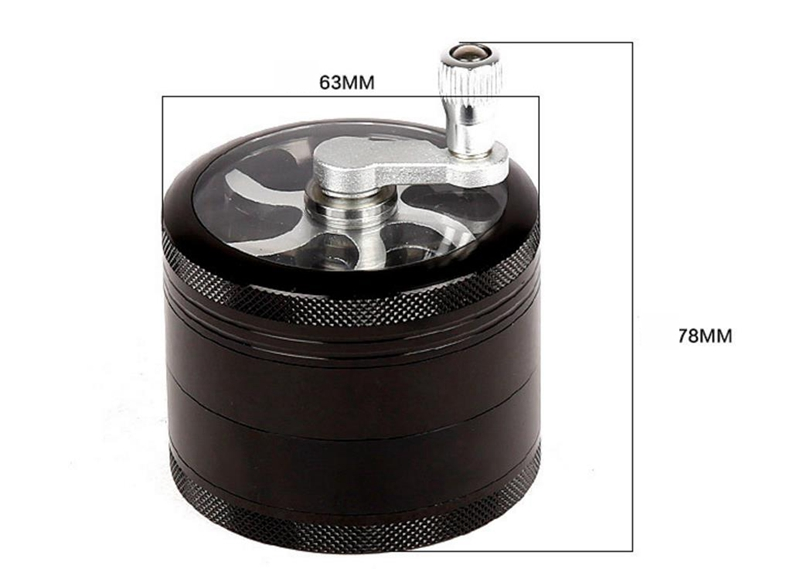 63mm 4levels Wiet Grinder  Herb Aluminum Alloy 4 Levels Hand - Cranked Tobacco Smoke Crusher Smoking Accessories