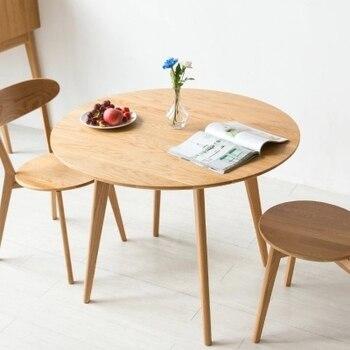 Mesa redonda de madera maciza moderna minimalista mesa de comedor pequeña