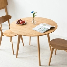 Solid wood round table modern minimalist small table dining table dining table with adjustable top wood color dropshipping