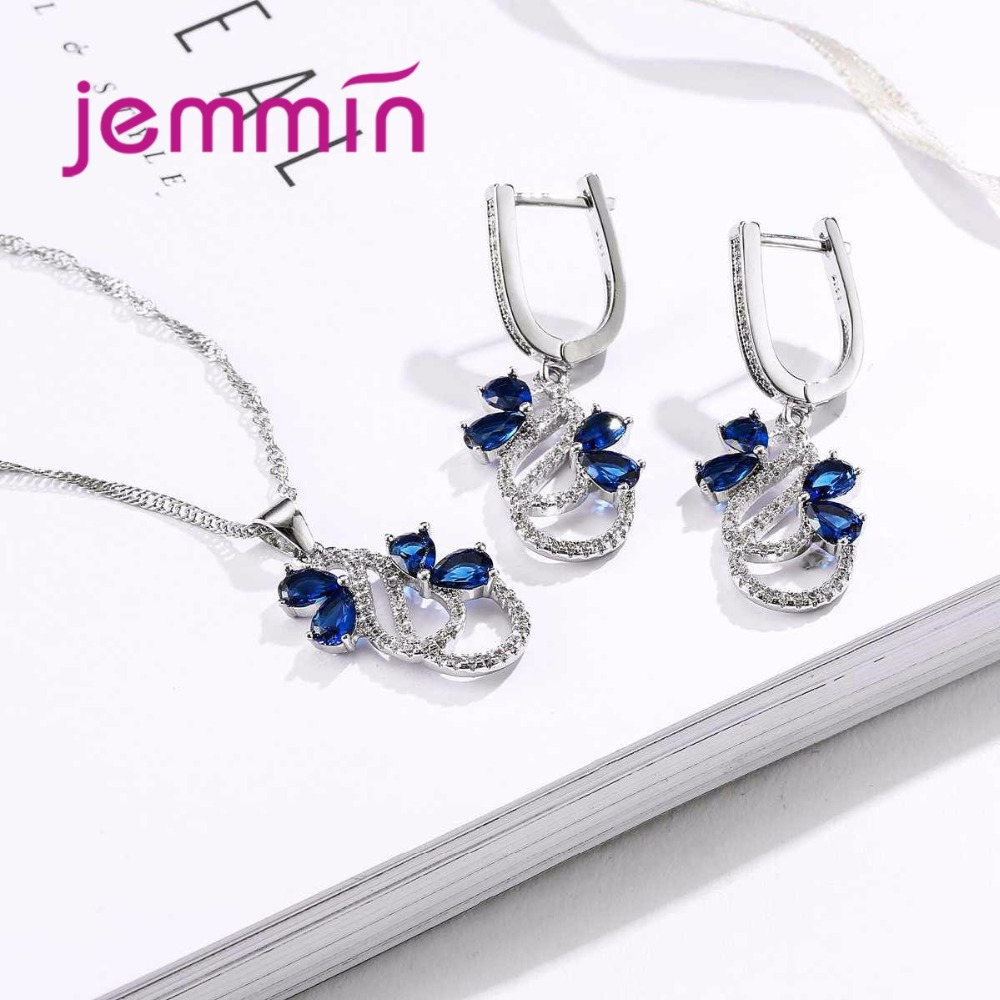 HTB1e2aWadHEK1JjSZFGq6AjVFXaU Luxury 925 Sterling Silver Necklace Earrings Set For Women Female Party Bule Austrian Crystal Jewelry High Quality