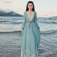 2017 Women dress Hot sale Fashion Linen Casual tunic V neck long Full sleeve dress Vintage embroidered beach Floor length dress