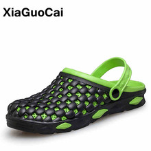 XiaGuoCai 2017 Summer Fashion Men Garden Shoes Breathable Mules Non-slip Men Clogs Slippers Casual Male Beach Shoes X47 65