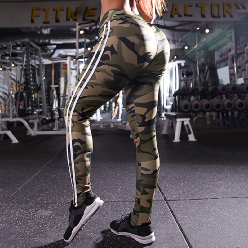 Women's Knitted Digital Printing Gothic Trousers Casual High Waist Push Up Stretch Pants Jeggings Stripes Army Green   Leggings