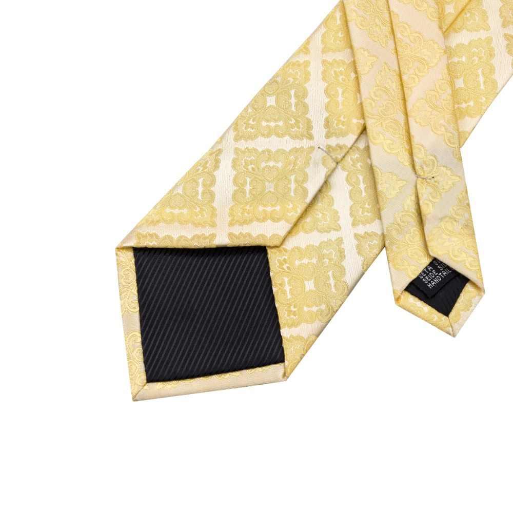 SN-1036 黄色花ネクタイハンカチカフスセットメンズ 100% シルクゴールドネクタイ男性用フォーマル男性ネクタイ結婚式パーティー新郎 Corbatas