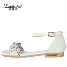 Daidiesha 2018 Plus size 33-43 Cow Leather Dress Back strap Sandals Female Pearl Ankle strap Ladies Sweet Sandals Stilettos