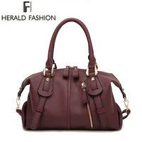 Herald Fashion Boston Litchi Pattern Handbag High Quality PU Leather Casual Shoulder Bags Large Capacity Solid