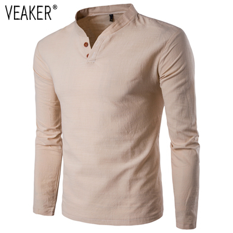 2019 Autumn New Men's Linen T Shirts Male Long Sleeve Breathable Linen Cotton T Shirt Solid Color Chinese Style Tops Tshirt 5XL