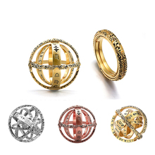 Romad 2019 New Fashion Foldable Astronomical Sphere Ball Ring Silver & Golden Rose Color Complex Rotating Finger