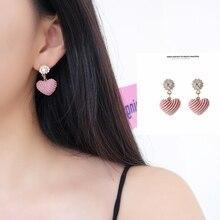 2019 new Korean sweet fashion crystal lovely pink heart ear pendant
