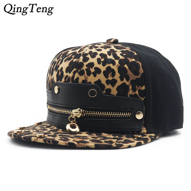 71163fb312c 2019 Men Hip Hop Fashion Cap Leopard Print Zipper Custom Snapback Hats  Cheap Summer Outdoor Sun Hat Swag Baseball Hat Casquette