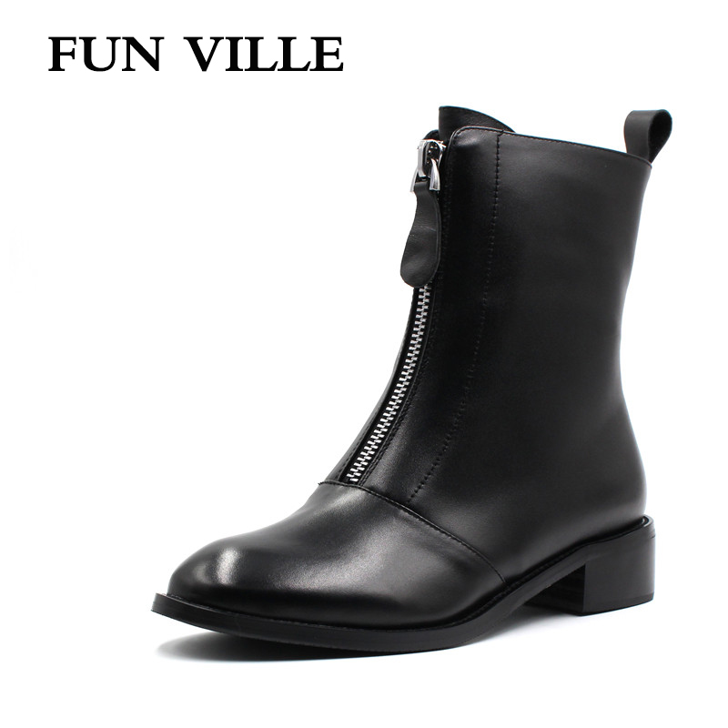 FUN VILLE 2017 New Autumn winter Women Ankle Boots Genuine leather Hign quality Martin boots Flat shoes for woman Round Toe front lace up casual ankle boots autumn vintage brown new booties flat genuine leather suede shoes round toe fall female fashion