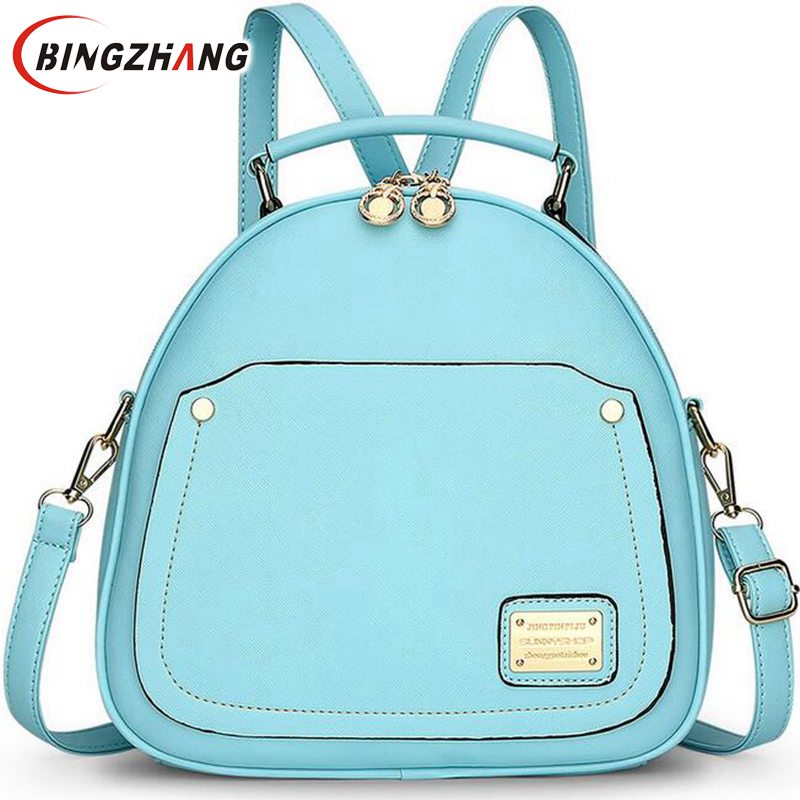 Candy Color Spring Small Women Backpacks School Bags For Teenagers Backpacks For Teenage Girls Fashion Leather Backpack L4-2329