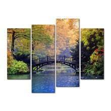 4 pieces / sets of bridges beautiful landscape wall art for the decoration home pictures Painting in canvas
