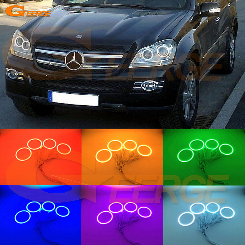 For Mercedes Benz GLS Class GL320 GL350 GL420 GL450 GL550 2007-2012 Excellent Multi-Color Ultra bright RGB LED Angel Eyes kit for mercedes benz b class w245 b160 b180 b170 b200 2006 2011 excellent multi color ultra bright rgb led angel eyes kit