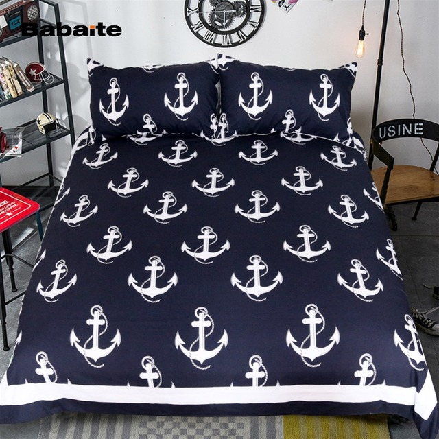Babaite Nautical Anchor Creative Bedding Set No Fading Soft Duvet Cover  Pillowcases Twin Full Queen King