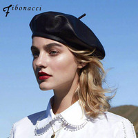 2017 NEW Fashion Autumn Winter Black PU Leather Beret Hat Women Cap Female French Homme Brand