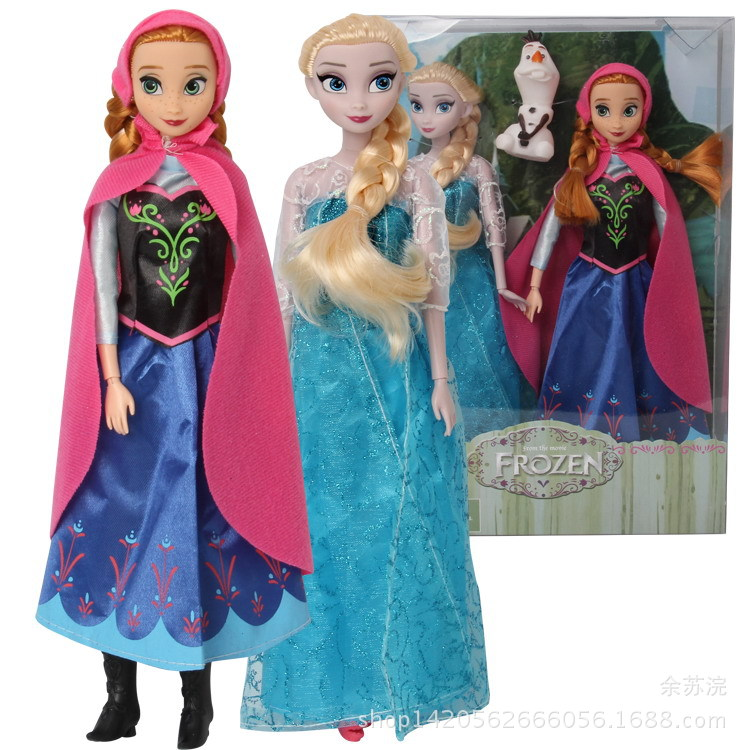Disney Frozen 2pcs Snow and Ice Odds 12 Joints Aisha Anna Doll with Snow White PVC