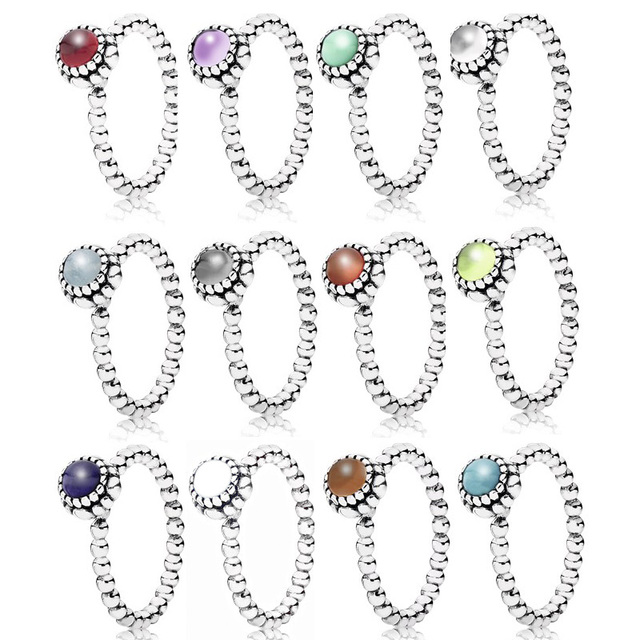 e1cf322c4 Authentic 925 Sterling Silver Ring Birthday Blooms Stackable Rings With  Crystal For Women Gift Fine Pandora