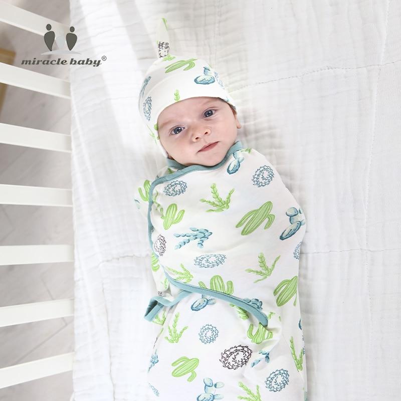 2pc Baby Swaddle Blanket With Cap Swaddle Wrap Swaddling Bag Newborn Cotton Envelope Sleep Sack Infant Baby Sleeping Bag