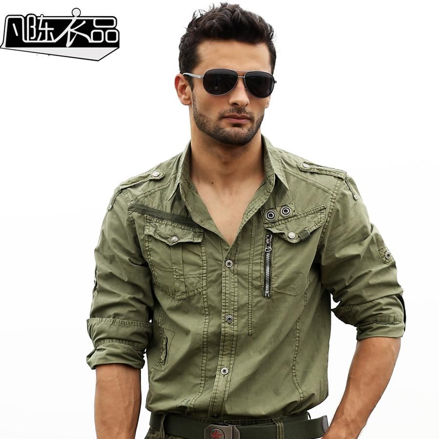 Cargo Shirts Men Long Sleeved Cotton Military Uniform Plus
