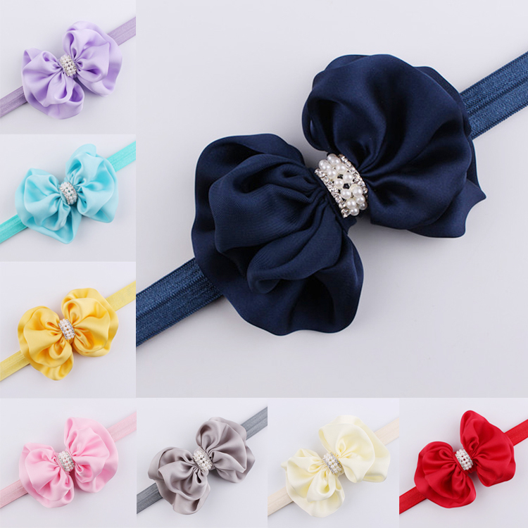 1 Pc Infant Lovely Kids Girls Children Big Bowknot Rhinestone Elastic Headband Hairband Turban Knot Pearl Hair Bands Accessories 1 pc women fashion elastic stretch plain rabbit bow style hair band headband turban hairband hair accessories
