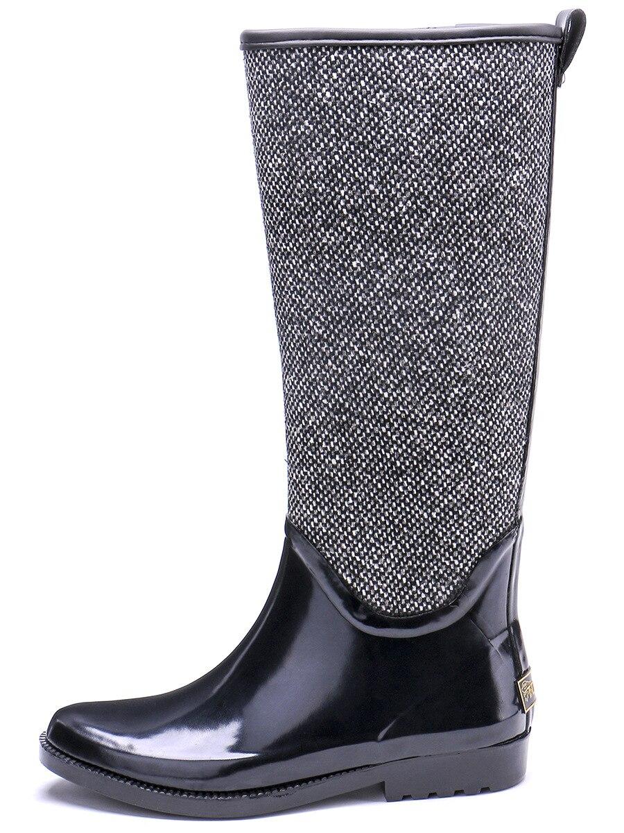 EXCARGO/женские резиновые сапоги; высокие водонепроницаемые сапоги; коллекция 2019 года; сезон весна осень; Новинка; качественные женские высокие сапоги; водонепроницаемая обувь; экологически чистые резиновые сапоги - 5