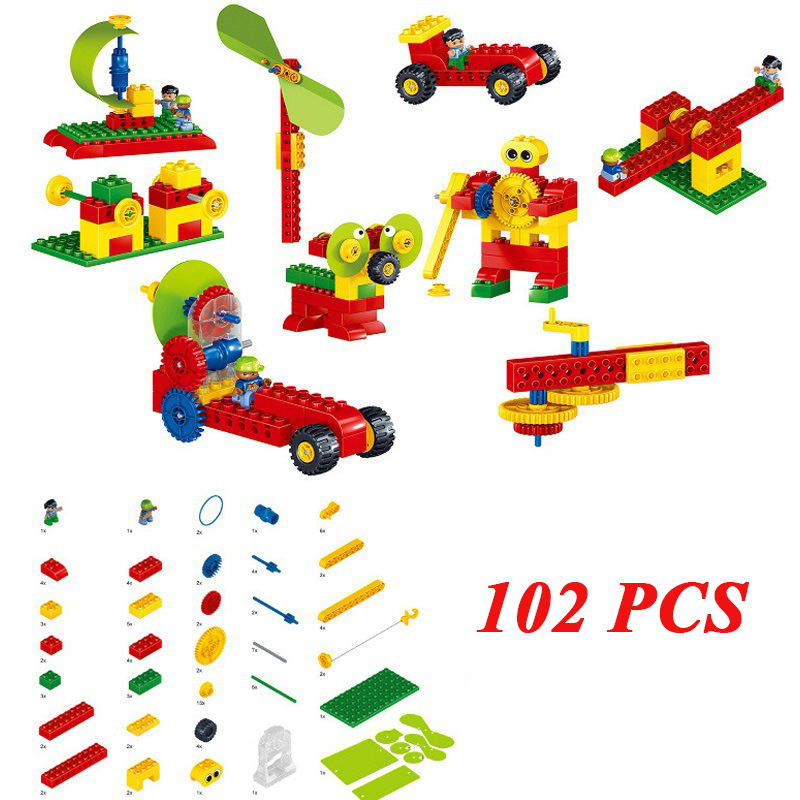 102Pcs Large Particle Educational Blocks Mechanical Technology Toys Building Block Sets Compatible Legoings Duploe For Kids