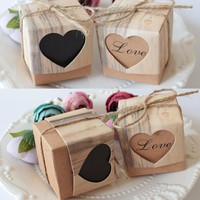 2017 Wedding Favors box hessian love candy box  hessian Heart Candy Box for Wedding Decoration Vintage Kraft Gifts Box 100pcs