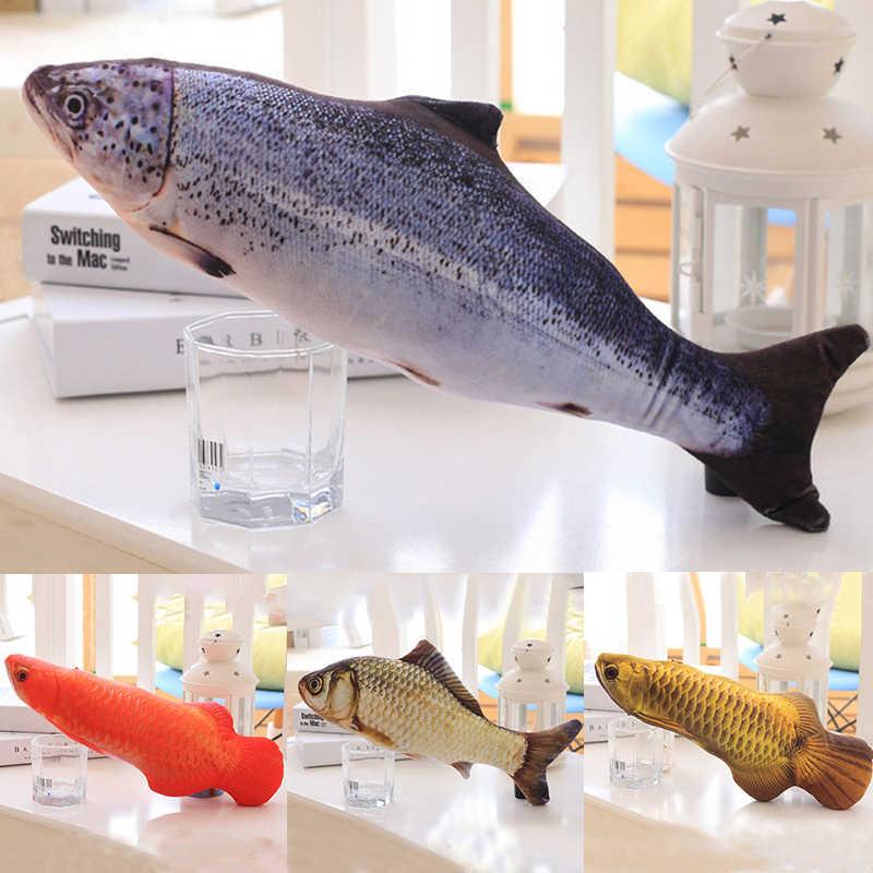Moda miękki pluszowy 3D w kształcie ryby zabawka dla kota interaktywne prezenty ryby kocimiętka zabawki wypchana poduszka lalka symulacja ryba gra zabawka dla zwierząt