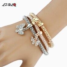 цена на New Fashion Butterfly Pendant Bracelet Trendy Multilayer Metal Colorful Crown Rhinestone Cuff Bracelet Women Jewelry Accessories