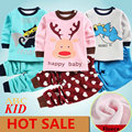 Мультфильм олень рубашка + брюки детская одежда Флис комплектов одежды спортивный костюм для девочек roupas infantis menino мальчик одежды KD174