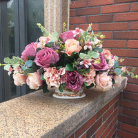 Special offer high quality rose flower simulation living room decorative floral vase suit potted flowers plastic flowers