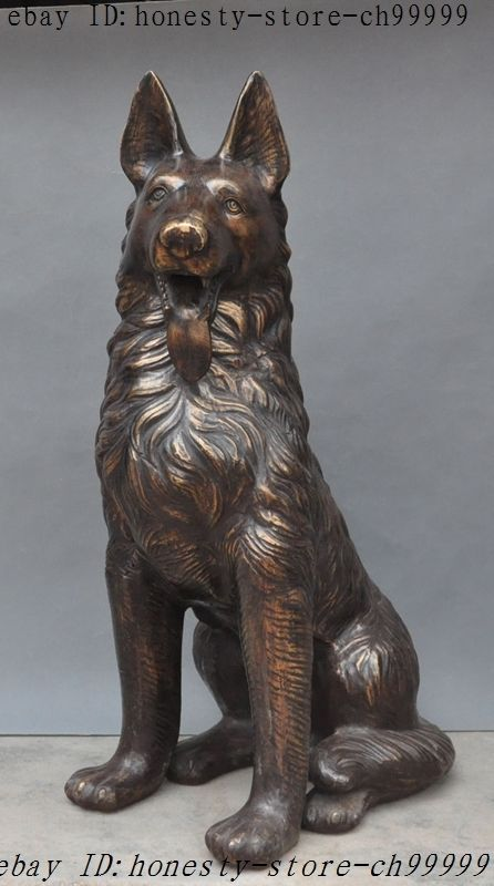 China Bronze Fengshui Guardian Animal Dog Hunting Dogs Police Dog Canine Statue