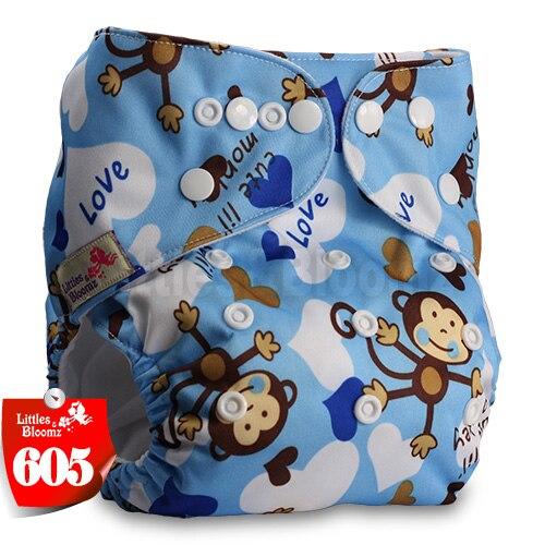 Littles& Bloomz детские моющиеся многоразовые подгузники из настоящей ткани с карманом для подгузников, чехлы для подгузников, костюмы для новорожденных и горшков, один размер, вставки для подгузников - Цвет: 605